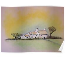 Cottage with Pastels Poster
