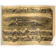 Panoramic Maps Atlantic City NJ 1880 Poster