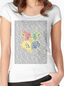 Harry Potter Spells List - Text Crest Women's Fitted Scoop T-Shirt