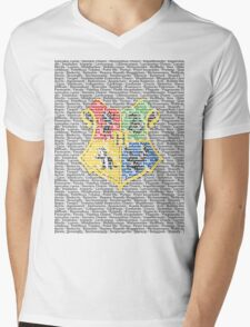 Harry Potter Spells List - Text Crest Mens V-Neck T-Shirt
