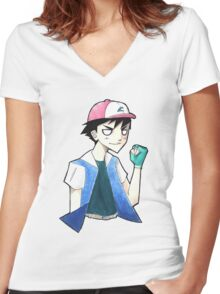 Pokemon: Ash Ketchum Women's Fitted V-Neck T-Shirt