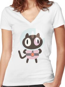 Cookie Cat! Women's Fitted V-Neck T-Shirt