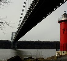 Little Red Lighthouse & George Washington Bridge by Amanda Vontobel Photography