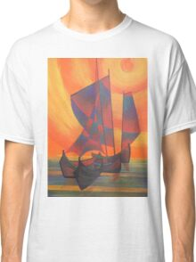 Red Sails in the Sunset Cubist Junk Abstract Classic T-Shirt