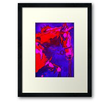 Pony In Neon Pink and Blue Framed Print