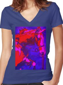 Pony In Neon Pink and Blue Women's Fitted V-Neck T-Shirt