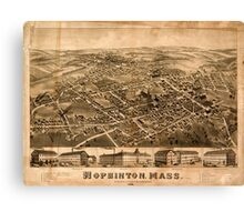 Panoramic Maps Hopkinton Mass Canvas Print