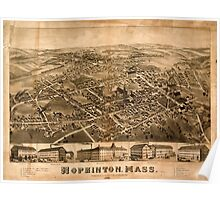 Panoramic Maps Hopkinton Mass Poster