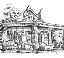 Whistle Stop cafe .......drawing  from Juliette GA by bulldawgdude