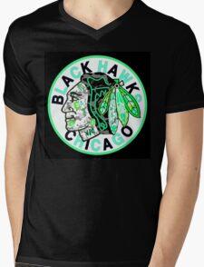 BLACKHAWKS BLACK Mens V-Neck T-Shirt