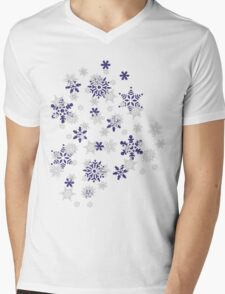 Blue and White Holiday Snowflakes Mens V-Neck T-Shirt
