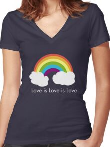 Love is Love is Love- Rainbow Women's Fitted V-Neck T-Shirt