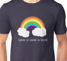 Love is Love is Love- Rainbow Unisex T-Shirt