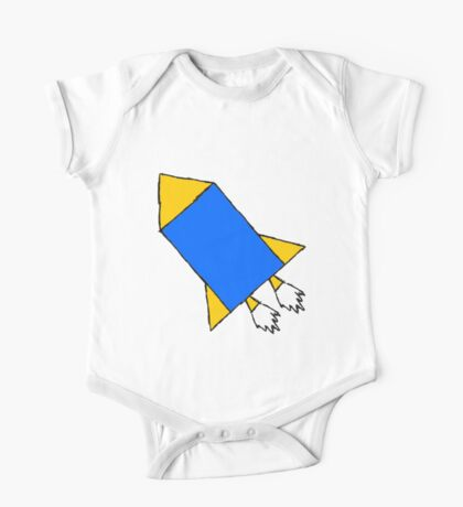 Yellow and Blue Rocket Clothes One Piece - Short Sleeve