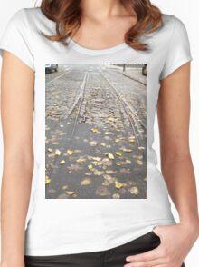 Abandoned Trolley Tracks, Cobblestone Street, Philadelphia, Pennsylvania  Women's Fitted Scoop T-Shirt