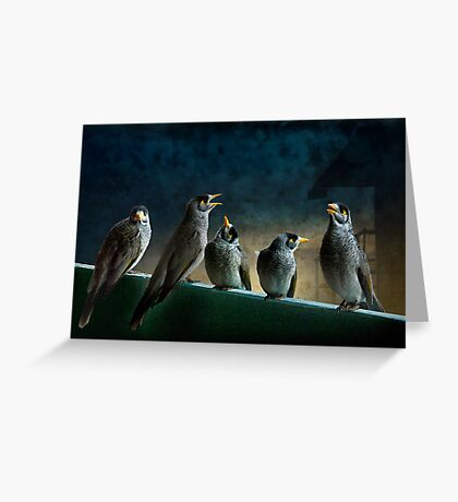 five birdies on a balcony Greeting Card