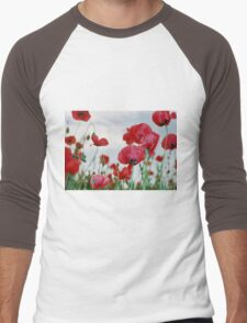 Field of Poppies Against Grey Sky  Men's Baseball ¾ T-Shirt