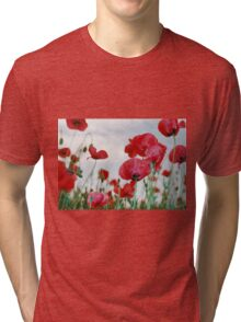 Field of Poppies Against Grey Sky  Tri-blend T-Shirt
