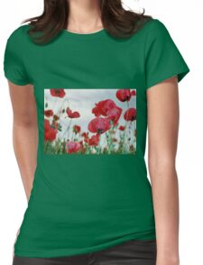 Field of Poppies Against Grey Sky  Womens Fitted T-Shirt