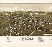 Panoramic Maps View of the city of Waupun Wis situated in Fond du Lac  Dodge Counties by wetdryvac