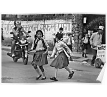 Two Girls Cross a Busy Road Poster