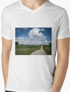 country lane with cumulus Mens V-Neck T-Shirt