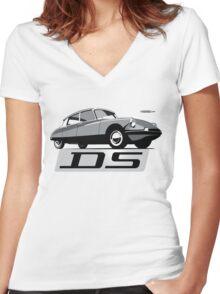 Citroën DS script emblem and illustration Women's Fitted V-Neck T-Shirt