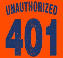 Team shirt - 401 Unauthorized, blue letters Kids Tee