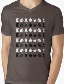 Chess Pieces Pattern Mens V-Neck T-Shirt
