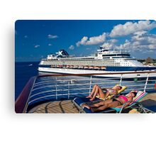 Lounging on deck. Canvas Print