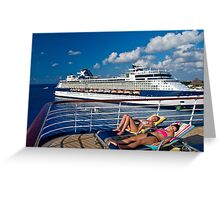 Lounging on deck. Greeting Card