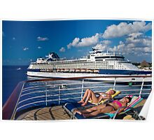 Lounging on deck. Poster
