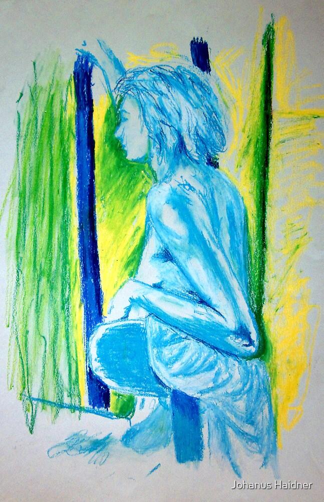 """Lady Cool"" - Nude Female Sitting on Chair by Johanus Haidner"