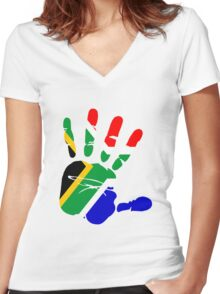 Flag of South Africa Handprint Women's Fitted V-Neck T-Shirt
