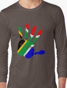 Flag of South Africa Handprint Long Sleeve T-Shirt