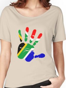 Flag of South Africa Handprint Women's Relaxed Fit T-Shirt
