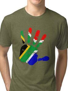 Flag of South Africa Handprint Tri-blend T-Shirt