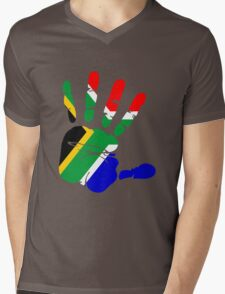 Flag of South Africa Handprint Mens V-Neck T-Shirt