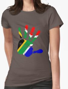Flag of South Africa Handprint Womens Fitted T-Shirt