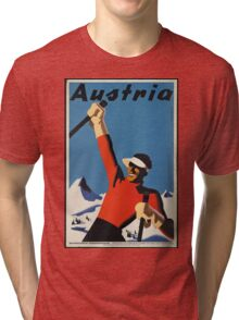 Vintage poster - Skiing Austria Tri-blend T-Shirt