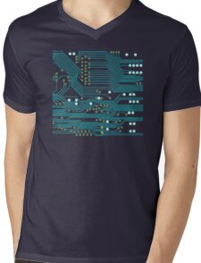 Dark Circuit Board Mens V-Neck T-Shirt