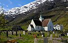 The old church at Olden, Norway by David Carton