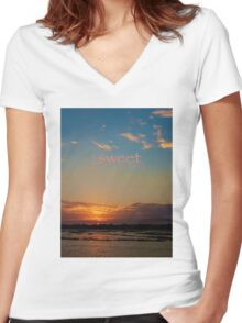 sweet dreams little one... for Mommy's dearest Women's Fitted V-Neck T-Shirt