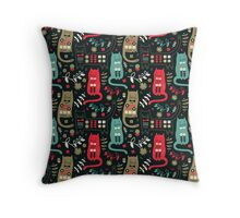 Cat Folk On Holiday  Throw Pillow