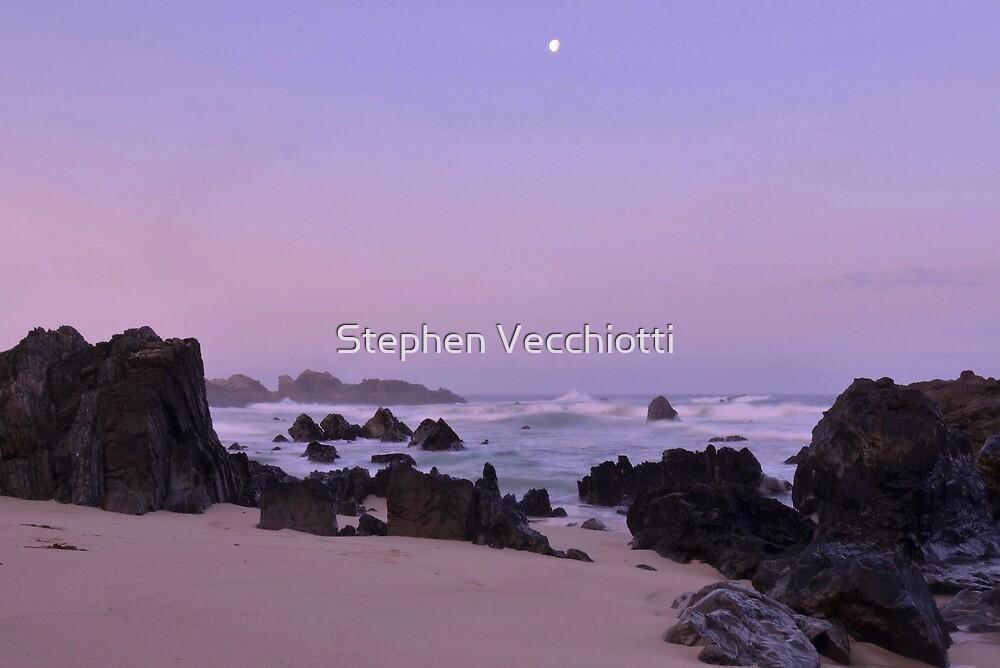 Moonset At Dawn - Big Sur by Stephen Vecchiotti