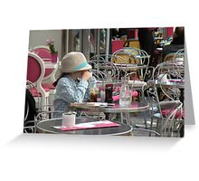 Little girl with a straw Greeting Card