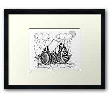 Wee Three, April Showers Framed Print