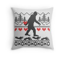 Gone Squatchin For Love Sweater Knitting Style Throw Pillow