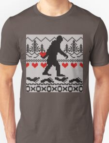 Gone Squatchin For Love Sweater Knitting Style T-Shirt