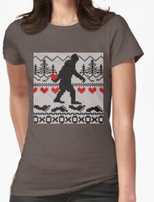 Gone Squatchin For Love Sweater Knitting Style Womens Fitted T-Shirt